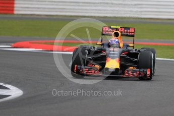 World © Octane Photographic Ltd. Red Bull Racing RB12 – Max Verstappen. Friday 8th July 2016, F1 British GP Practice 1, Silverstone, UK. Digital Ref : 1619LB1D0742