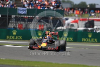 World © Octane Photographic Ltd. Red Bull Racing RB12 – Max Verstappen. Friday 8th July 2016, F1 British GP Practice 2, Silverstone, UK. Digital Ref : 1621LB1D2465