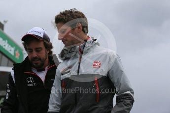 World © Octane Photographic Ltd. McLaren Honda – Fernando Alonso and Haas F1 Team – Romain Grosjean. Sunday 12th June 2016, F1 Canadian GP Drivers' parade, Circuit Gilles Villeneuve, Montreal, Canada. Digital Ref :1591LB1D2990