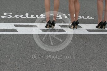 World © Octane Photographic Ltd. Grid Girls on the Start/Finish line with the famous Salut Gilles script. Sunday 12th June 2016, F1 Canadian GP Grid, Circuit Gilles Villeneuve, Montreal, Canada. Digital Ref :1591LB1D3237