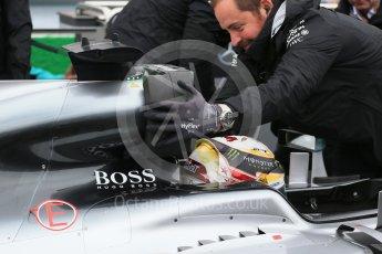 World © Octane Photographic Ltd. Mercedes AMG Petronas W07 Hybrid – Lewis Hamilton. Sunday 12th June 2016, F1 Canadian GP Grid, Circuit Gilles Villeneuve, Montreal, Canada. Digital Ref :1591LB1D3314