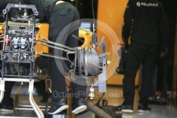 World © Octane Photographic Ltd. Renault Sport F1 Team RS16 front suspension and front brakes. Thursday 9th June 2016, F1 Canadian GP Pitlane, Circuit Gilles Villeneuve, Montreal, Canada. Digital Ref :1581LB1D9171