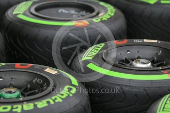 World © Octane Photographic Ltd. Pirelli green intermediate tyres. Thursday 9th June 2016, F1 Canadian GP Pitlane, Circuit Gilles Villeneuve, Montreal, Canada. Digital Ref :1581LB1D9214