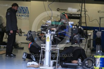 World © Octane Photographic Ltd. Manor Racing MRT05 being assembled. Thursday 9th June 2016, F1 Canadian GP Pitlane, Circuit Gilles Villeneuve, Montreal, Canada. Digital Ref :1581LB1D9285