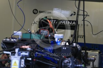 World © Octane Photographic Ltd. Manor Racing MRT05 being assembled. Thursday 9th June 2016, F1 Canadian GP Pitlane, Circuit Gilles Villeneuve, Montreal, Canada. Digital Ref :1581LB1D9292
