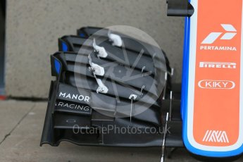 World © Octane Photographic Ltd. Manor Racing MRT05 noses and front wings. Thursday 9th June 2016, F1 Canadian GP Pitlane, Circuit Gilles Villeneuve, Montreal, Canada. Digital Ref :1581LB1D9294