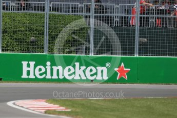 World © Octane Photographic Ltd. Heineken trackside sponsorship. Friday 10th June 2016, F1 Canadian GP Practice 1, Circuit Gilles Villeneuve, Montreal, Canada. Digital Ref : 1586LB1D0099