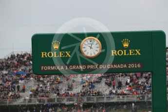 World © Octane Photographic Ltd. Rolex pit exit timing board. Saturday 11th June 2016, F1 Canadian GP Practice 3, Circuit Gilles Villeneuve, Montreal, Canada. Digital Ref :1588LB1D1138