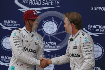World © Octane Photographic Ltd. Mercedes AMG Petronas W07 Hybrid – Lewis Hamilton and Nico Rosberg. Saturday 11th June 2016, F1 Canadian GP Qualifying Parc Ferme, Circuit Gilles Villeneuve, Montreal, Canada. Digital Ref :1589LB1D2061