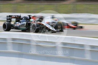 World © Octane Photographic Ltd. Sahara Force India VJM09 - Alfonso Celis. Wednesday 18th May 2016, F1 Spanish GP In-season testing, Circuit de Barcelona Catalunya, Spain. Digital Ref : 1556CB7D9459