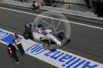 World © Octane Photographic Ltd. Williams Martini Racing, Williams Mercedes FW38 – Valtteri Bottas. Tuesday 1st March 2016, F1 Winter testing, Circuit de Barcelona Catalunya, Spain, Day 5. Digital Ref : 1508LB1D5017