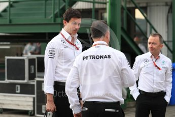 World © Octane Photographic Ltd. Mercedes AMG Petronas – Toto Wolf and Paddy Lowe. Friday 22nd July 2016, F1 Hungarian GP Paddock, Hungaroring, Hungary. Digital Ref :1638LB1D0205