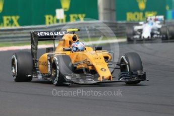 World © Octane Photographic Ltd. Renault Sport F1 Team RS16 – Jolyon Palmer and Williams Martini Racing, Williams Mercedes FW38 – Valtteri Bottas. Saturday 23rd July 2016, F1 Hungarian GP Practice 3, Hungaroring, Hungary. Digital Ref :1647CB1D7637