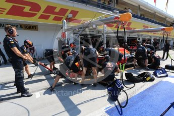 World © Octane Photographic Ltd. Red Bull Racing RB12 team practicing a pit stop. Saturday 23rd July 2016, F1 Hungarian GP Practice 3, Hungaroring, Hungary. Digital Ref : 1647LB2D9965