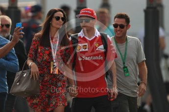 World © Octane Photographic Ltd. Scuderia Ferrari SF16-H – Kimi Raikkonen with wife Minttu Virtanen. Saturday 3rd September 2016, F1 Italian GP Paddock, Monza, Italy. Digital Ref :1696LB1D7432