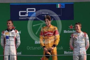 World © Octane Photographic Ltd. Prema Racing – Antonia Giovinazzi (1st), Russian Time – Raffaele Marciello (2nd) and Rapax – Gustav Malja (3rd). Saturday 3rd September 2016, GP2 Race 1 Podium, Monza, Italy. Digital Ref :1700LB1D8918