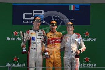 World © Octane Photographic Ltd. Prema Racing – Antonia Giovinazzi (1st), Russian Time – Raffaele Marciello (2nd) and Rapax – Gustav Malja (3rd). Saturday 3rd September 2016, GP2 Race 1 Podium, Monza, Italy. Digital Ref :1700LB1D9054