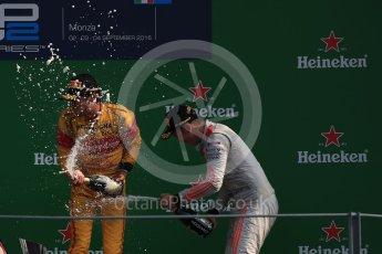 World © Octane Photographic Ltd. Prema Racing – Antonia Giovinazzi (1st) and Rapax – Gustav Malja (3rd). Saturday 3rd September 2016, GP2 Race 1 Podium, Monza, Italy. Digital Ref :1700LB1D9069