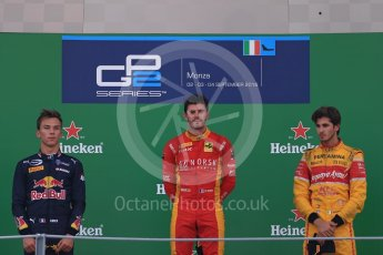 World © Octane Photographic Ltd. Racing Engineering – Norman Nato (1st) and Prema Racing – Pierre Gasly (2nd) and Antonia Giovinazzi (3rd). Sunday 4th September 2016, GP2 Race 1 Podium, Monza, Italy. Digital Ref :1707LB1D0002