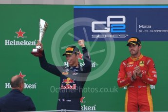 World © Octane Photographic Ltd. Racing Engineering – Norman Nato (1st) and Prema Racing – Pierre Gasly (2nd) and Antonia Giovinazzi (3rd). Sunday 4th September 2016, GP2 Race 1 Podium, Monza, Italy. Digital Ref :1707LB1D0026