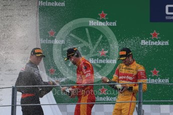 World © Octane Photographic Ltd. Racing Engineering – Norman Nato (1st) and Prema Racing – Pierre Gasly (2nd) and Antonia Giovinazzi (3rd). Sunday 4th September 2016, GP2 Race 1 Podium, Monza, Italy. Digital Ref :1707LB1D0091