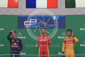 World © Octane Photographic Ltd. Racing Engineering – Norman Nato (1st) and Prema Racing – Pierre Gasly (2nd) and Antonia Giovinazzi (3rd). Sunday 4th September 2016, GP2 Race 1 Podium, Monza, Italy. Digital Ref :1707LB1D9983