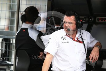 World © Octane Photographic Ltd. McLaren Honda MP4-31 – Eric Boullier. Saturday 8th October 2016, F1 Japanese GP - Practice 3, Suzuka Circuit, Suzuka, Japan. Digital Ref : 1732LB2D3063