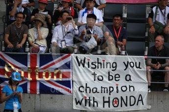 World © Octane Photographic Ltd. McLaren Honda Jenson Button fans. Saturday 8th October 2016, F1 Japanese GP - Practice 3, Suzuka Circuit, Suzuka, Japan. Digital Ref : 1732LB2D3102