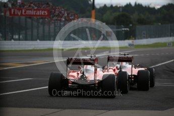 World © Octane Photographic Ltd. Scuderia Ferrari SF16-H – Sebastian Vettel and Kimi Raikkonen. Saturday 8th October 2016, F1 Japanese GP - Practice 3, Suzuka Circuit, Suzuka, Japan. Digital Ref : 1732LB2D3371