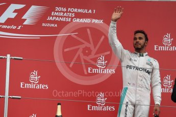 World © Octane Photographic Ltd. Mercedes AMG Petronas – Lewis Hamilton (3rd). Sunday 9th October 2016, F1 Japanese GP - Podium. Suzuka Circuit, Suzuka, Japan. Digital Ref :1737LB1D8388