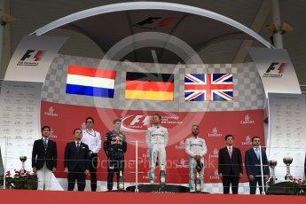 World © Octane Photographic Ltd. Mercedes AMG Petronas – Nico Rosberg (1st), Red Bull Racing – Max Verstappen (2nd) and Mercedes AMG Petronas – Lewis Hamilton (3rd). Sunday 9th October 2016, F1 Japanese GP - Podium. Suzuka Circuit, Suzuka, Japan. Digital Ref :1737LB1D8468