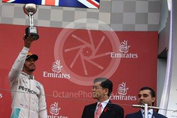 World © Octane Photographic Ltd. Mercedes AMG Petronas – Lewis Hamilton (3rd). Sunday 9th October 2016, F1 Japanese GP - Podium. Suzuka Circuit, Suzuka, Japan. Digital Ref :1737LB1D8564
