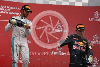 World © Octane Photographic Ltd. Red Bull Racing – Max Verstappen (2nd) and Mercedes AMG Petronas – Lewis Hamilton (3rd). Sunday 9th October 2016, F1 Japanese GP - Podium. Suzuka Circuit, Suzuka, Japan. Digital Ref :1737LB1D8659