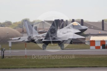 "World © Octane Photographic Ltd. 3rd May 2016 RAF Lakenheath, USAF (United States Air Force) 325th Operations Group, 95th Fighter Squadron ""Boneheads"", Lockheed-Martin F-22 Raptor. Digital Ref :1531CB1L1472"
