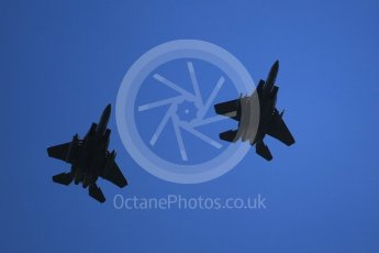 """World © Octane Photographic Ltd. 3rd May 2016 RAF Lakenheath, USAF (United States Air Force) 48th Fighter Wing """"Statue of Liberty Wing"""" commanding officer's personal aircraft, McDonnell Douglas F-15E Strike Eagle and wingman. Digital Ref :1531CB1L1710"""