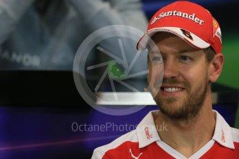 World © Octane Photographic Ltd. F1 Monaco GP FIA Drivers' Press Conference, Monaco, Monte Carlo, Wednesday 25th May 2016. Scuderia Ferrari – Sebastian Vettel. Digital Ref : 1560LB1D4649