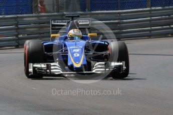 World © Octane Photographic Ltd. Sauber F1 Team C35 – Marcus Ericsson. Saturday 28th May 2016, F1 Monaco GP Practice 3, Monaco, Monte Carlo. Digital Ref : 1568CB7D1875