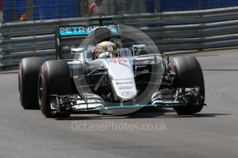 World © Octane Photographic Ltd. Mercedes AMG Petronas W07 Hybrid – Lewis Hamilton. Saturday 28th May 2016, F1 Monaco GP Practice 3, Monaco, Monte Carlo. Digital Ref : 1568CB7D1897