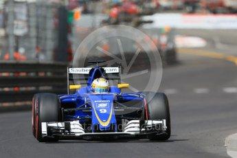 World © Octane Photographic Ltd. Sauber F1 Team C35 – Marcus Ericsson. Saturday 28th May 2016, F1 Monaco GP Practice 3, Monaco, Monte Carlo. Digital Ref : 1568CB7D1930