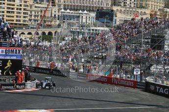 World © Octane Photographic Ltd. Mercedes AMG Petronas W07 Hybrid – Nico Rosberg. Saturday 28th May 2016, F1 Monaco GP Practice 3, Monaco, Monte Carlo. Digital Ref : 1568LB1D0014
