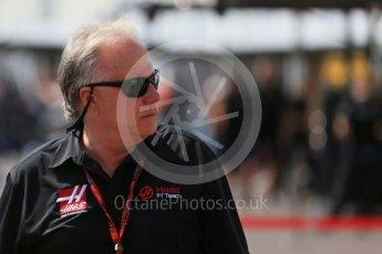 World © Octane Photographic Ltd. Haas F1 Team - Gene Haas. Saturday 28th May 2016, F1 Monaco GP Practice 3, Monaco, Monte Carlo. Digital Ref : 1568LB1D9114