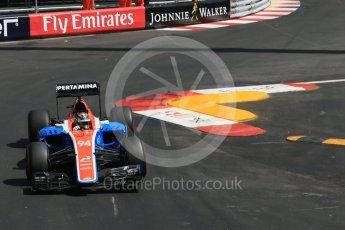 World © Octane Photographic Ltd. Manor Racing MRT05 - Pascal Wehrlein. Saturday 28th May 2016, F1 Monaco GP Practice 3, Monaco, Monte Carlo. Digital Ref : 1568LB1D9518
