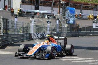 World © Octane Photographic Ltd. Manor Racing MRT05 – Rio Haryanto. Saturday 28th May 2016, F1 Monaco GP Qualifying, Monaco, Monte Carlo. Digital Ref :