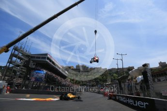World © Octane Photographic Ltd. Renault Sport F1 Team RS16 - Kevin Magnussen and Red Bull Racing RB12 – Max Verstappen's car being recovered. Saturday 28th May 2016, F1 Monaco GP Qualifying, Monaco, Monte Carlo. Digital Ref :