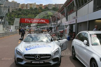 World © Octane Photographic Ltd. FIA Safety Car (Mercedes AMG GT) at the end of the pitlane. Wednesday 25th May 2016, F1 Monaco GP Paddock, Monaco, Monte Carlo. Digital Ref :1559CB5D5949