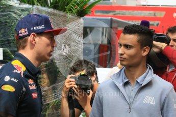 World © Octane Photographic Ltd. Red Bull Racing RB12 – Max Verstappen and Manor Racing MRT05 - Pascal Wehrlein. Wednesday 25th May 2016, F1 Monaco GP Paddock, Monaco, Monte Carlo. Digital Ref :1559CB7D0090