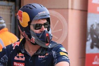 World © Octane Photographic Ltd. Red Bull Racing - helmeted mechanic. Wednesday 25th May 2016, F1 Monaco GP Paddock, Monaco, Monte Carlo. Digital Ref : 1559CB7D0226