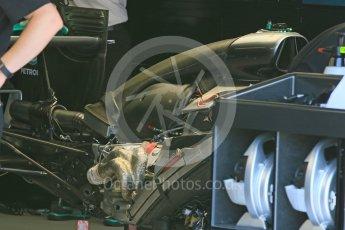 World © Octane Photographic Ltd. Mercedes AMG Petronas W07 Hybrid – engine. Wednesday 25th May 2016, F1 Monaco GP Paddock, Monaco, Monte Carlo. Digital Ref :1559CB7D9798