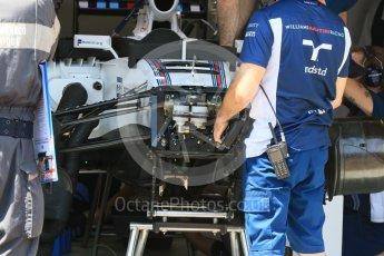 World © Octane Photographic Ltd. Williams Martini Racing, Williams Mercedes FW38 – front suspension. Wednesday 25th May 2016, F1 Monaco GP Paddock, Monaco, Monte Carlo. Digital Ref :1559CB7D9835
