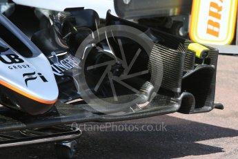World © Octane Photographic Ltd. Sahara Force India VJM09 - front wing. Wednesday 25th May 2016, F1 Monaco GP Paddock, Monaco, Monte Carlo. Digital Ref :1559CB7D9851